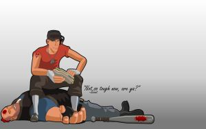 Tf2 Scout Wallpaper Gray by webbugt