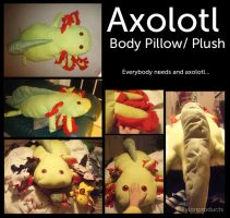 GIANT Axolotl Body pillow by Tylon