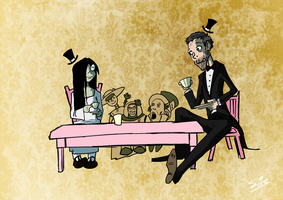 Samara and Dr. House having a Fancy Tea Party by SuiZ
