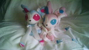 Sylveon Beanie Plushies by KahleyCreations