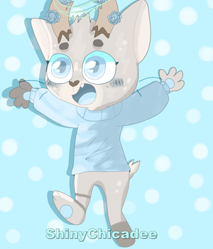 .:AT:. Cute little deer cat named Cafae by shinychicadee