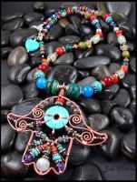 Oracle - Hand of Hamsa Gemstone Necklace by andromeda