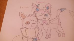 Eevee and Sylveon :Pokemon: by Cutiefluffy9182