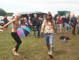 Hippie passes weird Yoga Granpa at BurgHerzberg by Dominik19