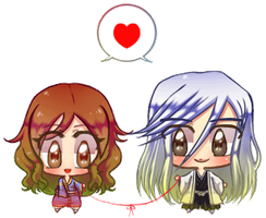 comission Blinking mini chibi_ Ukitake x Casey by 0chidori0