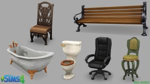 The Sims 4: Seating Props by DeadXIII