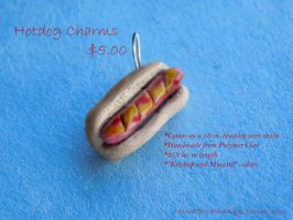 Hotdog Necklace Charm by Wintaria