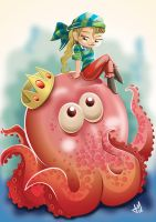 Octopus and Pirate by saulom