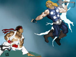 Ryu vs Thor Color - Unfinished by lucasgomesdesouza