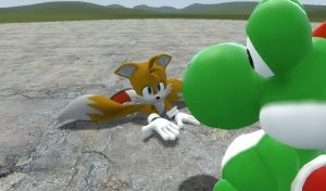 yoshi beats up tails and becomes friends somehow by yoshiyoshi700