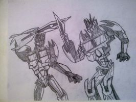 TFP Optimus Prime VS Nemesis Prime by SALVAGEPRIME8686
