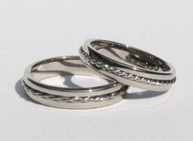 White gold wedding bands by Mayavati