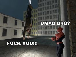 Spiderman webs up Niko Bellic by ErichGrooms3