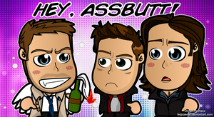 Hey Assbutt - Supernatural Chibi Wallpaper by kapaeme