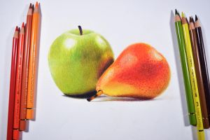 Green apple and pear - colored pencils. by f-a-d-i-l