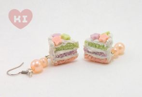 Polymer clay miniature cake slice earrings by kicat