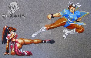 Mai vs Chun-Li sprite bead by ShadowSkilz