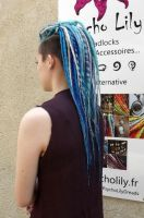 Shades of blue dreads - custom made by Psycho Lily by PsychoLilyDreads