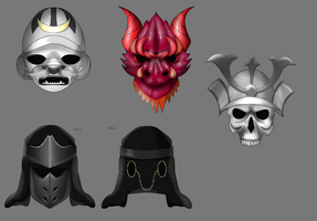 Shogun masks (finished) by ToAtoneArt
