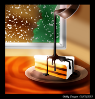 Chocolate cake in a cold day (touchpad painting) by chillydragon