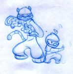 martial arts toon blue sketch by ensoe