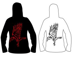 Hoodiedesign- Crow Backside by blackbutterfly006