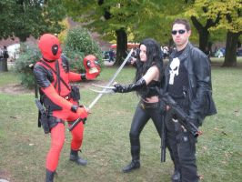 Deadpool, X-23 and Punisher by giulal