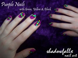 Purple, Green, Yellow and Black Nails by shadowfallx