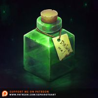 Isometric Green Bottle by Sephiroth-Art