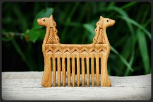 Wooden hair comb Dragons by pagan-art