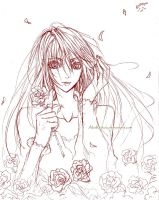 Sketch: The girl with the roses by AkaReikou