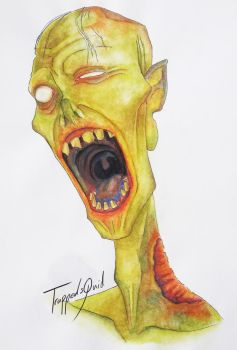 Watercolour zombie by TrappedSquid