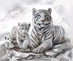 White tigers by Kajenna