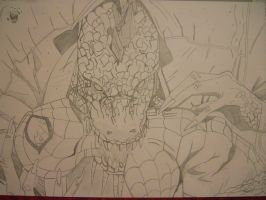 Spiderman vs. The Lizard - sketch by ImmortalBerry
