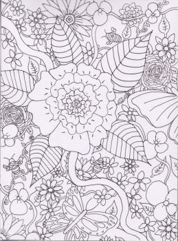 Free Download- Floral Garden Outline by CuriousBunnyClothing