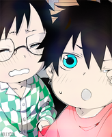 Baby Rin and Yukio colorize by Hollycch