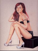 Seated Red Headed Woman by rodfern2011