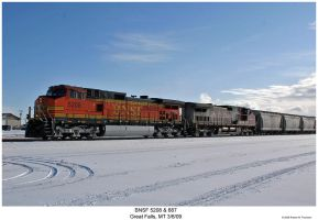 BNSF 5208 and 687 in the Snow by hunter1828