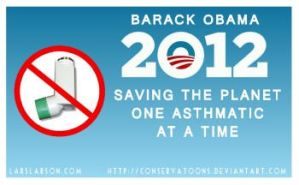 Obama Banning Inhalers poster by Conservatoons