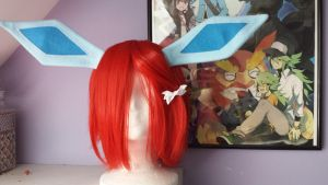 Glaceon ears on wig clips by Hop-is-my-Hero