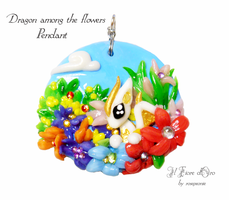 Dragon among the flowers - pendant by rosepeonie