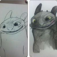 Toothless attempt with water color paint by UglyDoll311
