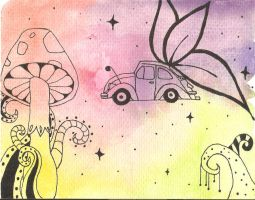 Beetlefly and mushroom by Carrie-AnneSevenfold