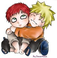 Chibi Gaara and Naruto-fanart by DanaArena