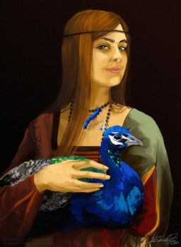 Lady with a Peacock by lordmegi