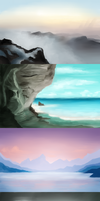 speedpaints - environment studies by LilyScribbles