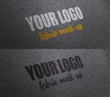 Photorealistic fabric logo mock-up by Free-designs-net