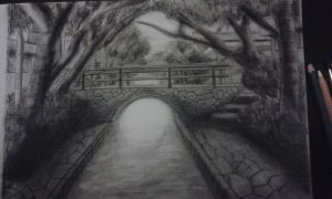 First time Charcoal: Bridge over River by 0HELIKAON0