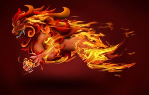 Fire Fu Lion by ChickenChasser