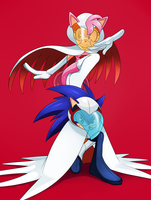 Sonic the Eagle and Amy the Swan by ss2sonic